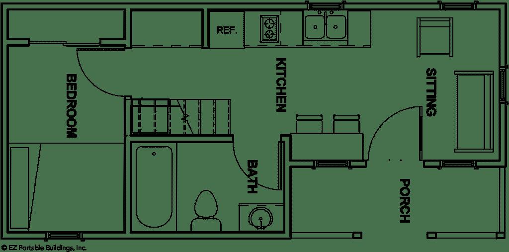 EZ Portable Buildings - Tiny Houses - The Savannah Floorplan